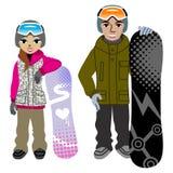 Snowboardingpar som isoleras Royaltyfri Bild