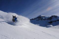Snowboardingpulver i Valle Nevado Arkivbilder