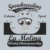 Snowboardingst-shirt, het embleem van de de wintersport, vector stock illustratie