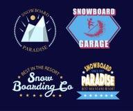 Snowboardingtypographieikone, Firmenzeichen und Ausweissatz Lizenzfreie Stockfotografie