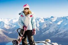 Snowboardmädchen Stockfotos
