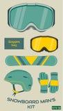 Snowboardmann-Ausrüstungssatz Vektor Stockbild