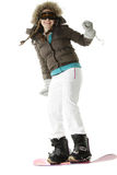 Snowboardmitfahrer Stockfotos
