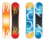 Snowboards. 4 snowboards with fire flames and sea waves stock illustration