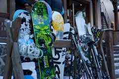 Snowboards against wall