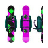 Snowboards with bindings and backpack Royalty Free Stock Photos