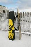 Snowboards op de Omheining royalty-vrije stock afbeelding