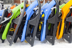 Snowboards on snow Stock Photos