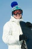 snowboards szczęśliwy sportowiec fotografia stock