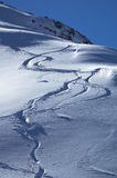 Snowboards track. In mountain Royalty Free Stock Images