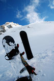Snowboards. Two snowboards in snow, parnasos mountain, greece Stock Images