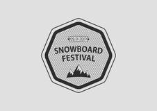 Snowboardweinlese-Kreislogo, flach Stockbild