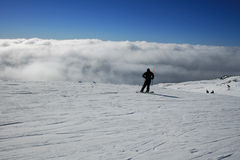 Snowboerder, Etna covered by snow - Sicily Stock Images