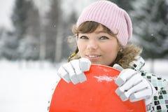 Snowborder hermoso de la muchacha Fotografía de archivo