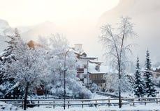 Snowbound лыжный курорт Стоковые Фото