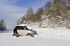 Snowbound Abandoned Car Stock Images