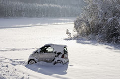 Snowbound Abandoned Car Stock Photo