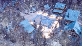 Snowbound alpine township at winter night top view royalty free illustration