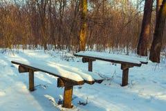 Snowbound bench Stock Photo