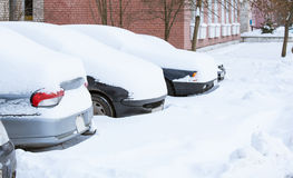Snowbound cars Royalty Free Stock Image