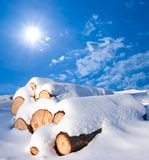Snowbound logs Stock Photo