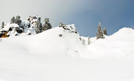 Snowbound mountain slope in Dolomites, Italy Stock Photos