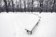Snowbound public area with benches in city park Royalty Free Stock Photography