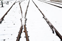 Snowbound rails in winter Stock Photo