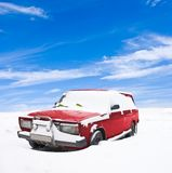 Snowbound red car Stock Photography