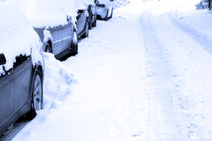 Snowbound road Stock Image