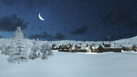 Snowbound township and fir trees at snowfall night Royalty Free Stock Photography