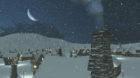 Snowbound village at snowfall winter night. Snowbound european village at snowfall winter night with a half moon. Camera moves from the bottom up. Chimney with stock footage