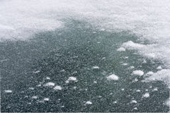 Snowbound window of the car in a snowstorm. The texture of frozen glass. Stock Image