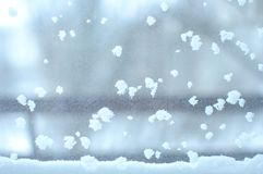 Snowbound window close-up, indoor. Seasonal winter weather conditions. Snowy winter background.  royalty free stock photo