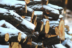 Snowbound woodpile under rural shed Royalty Free Stock Photography