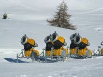 Snowcannons. By the side of a skiway at Tonales pass a set of snowcannons stored while unused Stock Photos