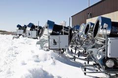 Snowcannons at Molltaler Glacier, Austria Stock Photo