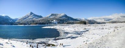 Free Snowcap Mountain Of The Cascade Mountain Range And Keechelus Lake On A Nice Sunny Winter, Snoqualmie Pass, Washington, USA Stock Photography - 158370912