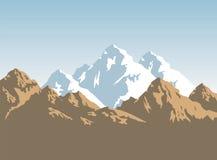 Snowcapped горы и коричневые утесы - предпосылка Стоковые Изображения
