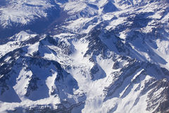 Snowcapped Andes. Aerial photo Royalty Free Stock Photo