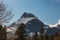 Snowcapped berg i glaciärnationalpark Royaltyfri Foto