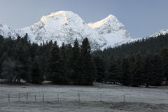 Snowcapped Gipfel des Bergs Giona, Griechenland lizenzfreie stockfotografie