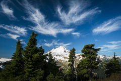 Snowcapped Mount Baker under high cirrus clouds Stock Image