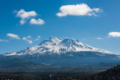 Snowcapped Mount Shasta volcano during winter Stock Image