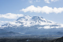Snowcapped Mount Shasta volcano during winter Stock Images