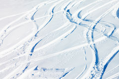 Snowcapped mountain with a lot of ski-tracks Stock Photography