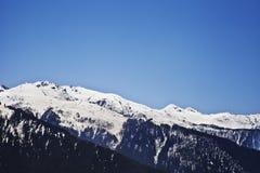 Snowcapped mountain range, Manali, Himachal Pradesh, India. Snow covered mountains, Manali, Himachal Pradesh, India Stock Photo