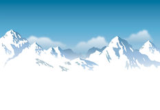 Snowcapped mountains - background. Drawing of  snowcapped mountain range background Royalty Free Stock Photo