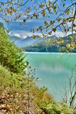 Pemberton Valley River and Duffy Lake Road near Whistler, BC Canada as the Autumn arrives and landscape changes colour. Snowcapped Mountains and Green River Royalty Free Stock Photo