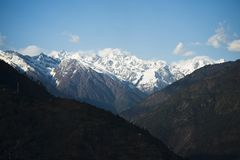 Snowcapped mountains, Himalayas, Uttarakhand, India Stock Photo